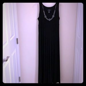 Lennie Nina Leonard Black Dress w/ Necklace L